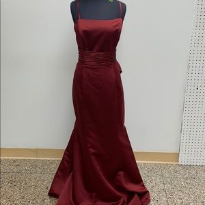 Long formal burgundy dress